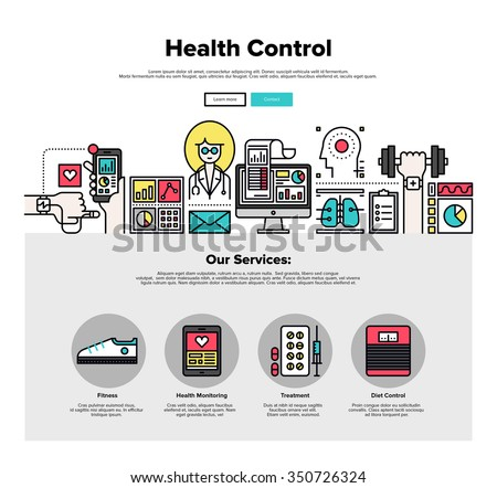 One page web design template with thin line icons of mobile health control technology, mHealth doctor app, digital medicine healthcare. Flat design graphic hero image concept, website elements layout.
