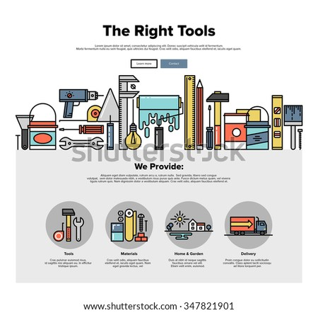 One page web design template with thin line icons of repair tools store, build instruments for workman, painting and renovation equipment. Flat design graphic hero image concept website element layout