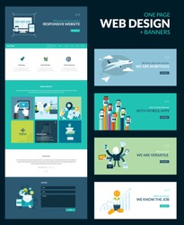 One page website design template. All in one set for website design that includes one page website template for responsive website and set of flat design concept illustrations for banners.