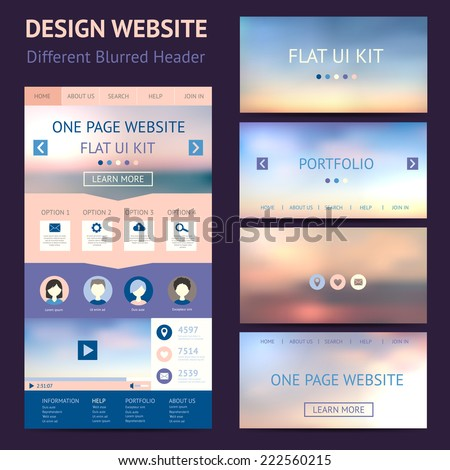 One page website design template flat ui kit All in one set for website design Vector illustration