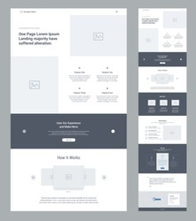 One page website design template for business. Landing page wireframe.