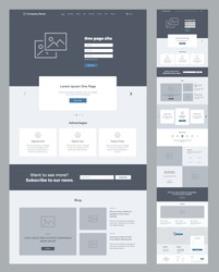 One page website design template for business. Landing page wireframe. Flat modern responsive design. Ux ui website: home, advantages, features, blog, testimonials, partners, benefits, contacts, form.