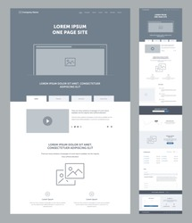 One page website design template for business. Landing page wireframe. Flat modern responsive design. Ux ui website: home, advantages, features, analytics, offers, download, FAQ, contacts, email.