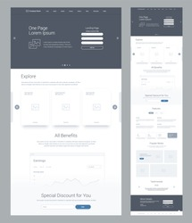 One page website design template for business. Landing page wireframe. Flat modern responsive design. Ux ui website: home, explore, benefits, earnings, discount, features, works, testimonials, details