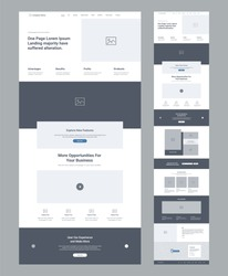 One page website design template for business. Landing page wireframe. Flat modern responsive design. Ux ui website: home, info, features, opportunities, offers, benefits, testimonials, contacts.