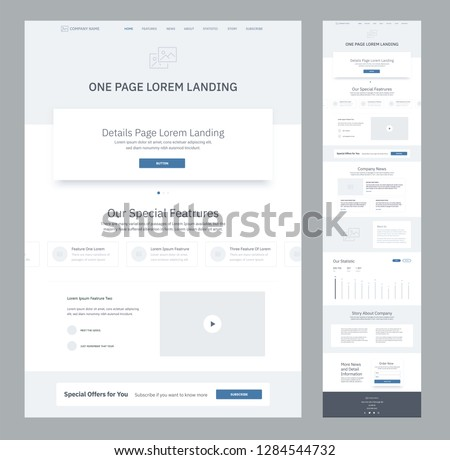 One page website design template for business. Landing page wireframe. Flat modern responsive design. Ux ui website: home, features, video, news, about us, statistic, company, order, contacts.