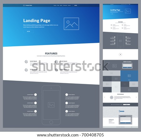 One page website design template for business. Modern landing page responsive wireframe. Ux ui website: about us, features, video, gallery, order, subscribe, testimonials, map, questions, contacts