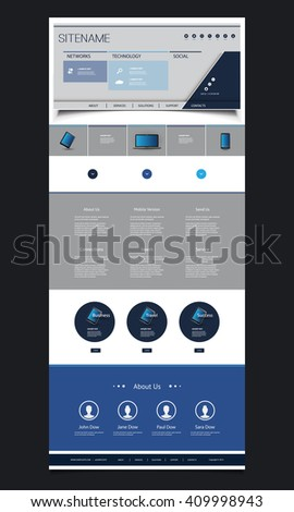 one page website design template for your business with header