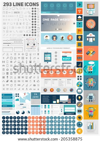 One Page Website Design Template with UI Elements kit and Flat Design Concept Icons. Mobile Phones and Tablet PC Designs. Set of Forms, Dividers, Borders and Buttons. Business Style. 300+ Line Icons.