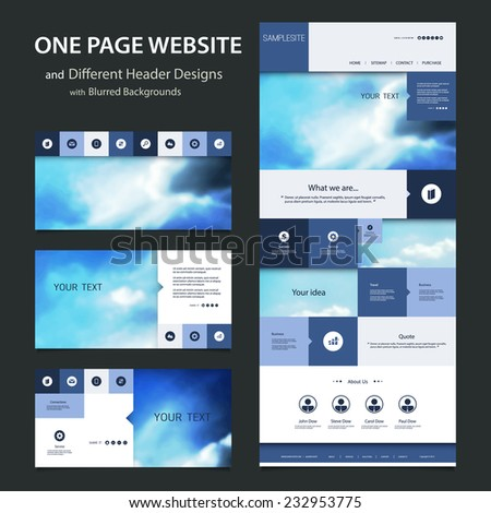 one page website template and different header designs with blurred