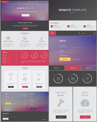 One Page Website Template with purple, grey & red flat design, for desktop and mobile landing pages