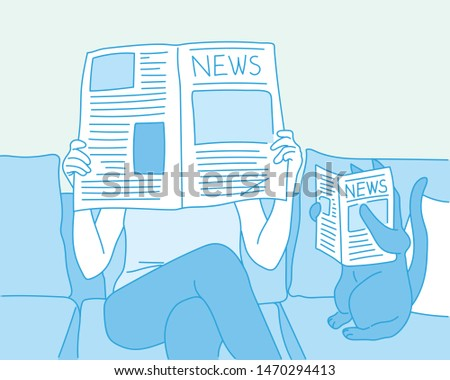 One person and one cat are reading with a newspaper. hand drawn style vector design illustrations.
