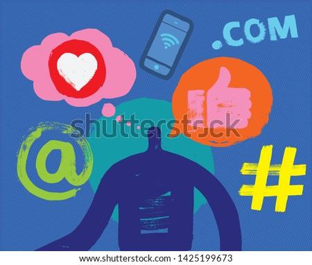 One Person, Head and Shoulders, Silhouette, Social Media Symbols, Grunge Texture, Millennial, Marketing, Digital, Online Profile, Facebook, Linkedin, Instagram, Like, Posting, Apps, User Experience