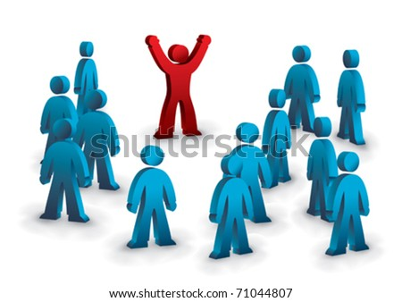 one person is celebrating in the crowd - stock vector