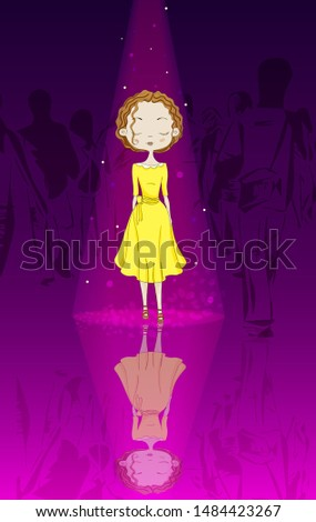 one person stands in the crowd of people. A ray of light illuminates her. Background gradient