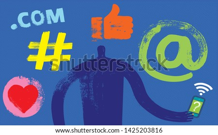 One Person with Smartphone, Head and Shoulders, Silhouette, Social Media Symbols, Grunge Texture, Millennial, Marketing, Digital, Online Profile, Facebook, Linkedin, Instagram, Like, Posting, User