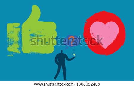 One Person with Smartphone, Like hand, Heart, Symbol, Thought bubble, One Person,  Grunge texture