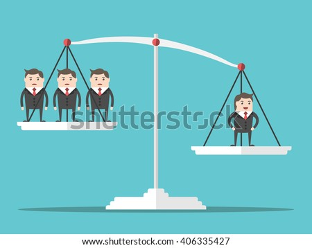 One positive happy successful man outweighing many people on scales. Flat style. Business, success, businessman and leadership concept. EPS 8 vector illustration, no transparency