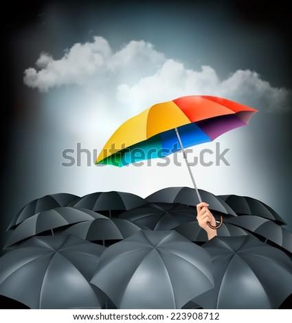 one rainbow umbrella standing