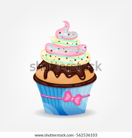 One realistic isolated cupcake with whipped cream and chocolate glaze, small pink bow, situated on white background