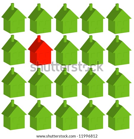 one red house among many green - being different - vector