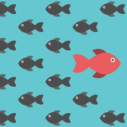 One red unique different fish swimming opposite way of identical black ones. Courage, confidence, success, crowd and creativity concept. EPS 8 vector illustration, no transparency