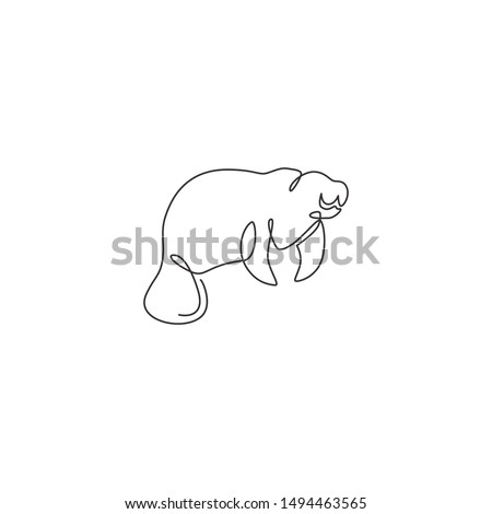 One single line drawing of adorable manatee for foundation logo identity. Herbivorous marine mammals mascot concept for sea world show icon. Modern continuous line draw design vector illustration