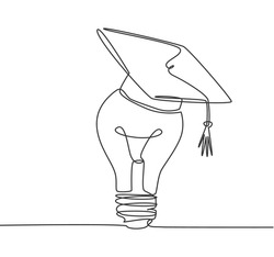 One single line drawing of bright lightbulb wearing graduation cap logo identity. Smart study academy logotype icon template concept. Dynamic continuous line draw design graphic vector illustration