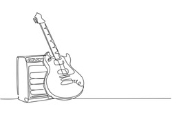 One single line drawing of electric guitar with amplifier. Stringed music instruments concept. Trendy continuous line draw graphic design vector illustration