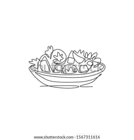 One single line drawing of fresh healthy vegetables salad logo vector graphic illustration. Organic food cafe menu and restaurant badge concept. Modern continuous line draw design street food logotype Сток-фото ©