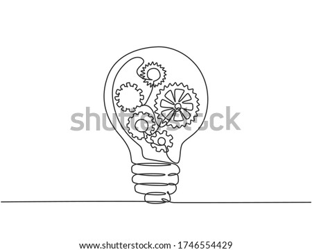 One single line drawing of lightbulb with metal gear wheel inside for machine company logo identity. Creative automotive workshop icon concept. Trendy continuous line draw design vector illustration