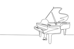 One single line drawing of luxury wooden grand piano. Modern classical music instruments concept continuous line draw design vector illustration graphic