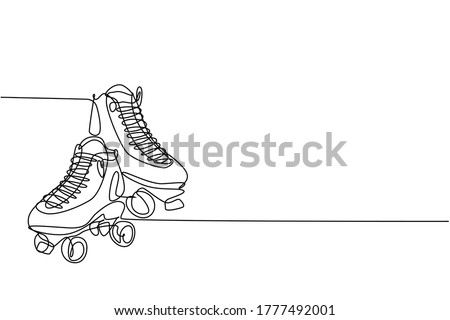 One single line drawing of pair of old retro plastic quad roller skate shoes. Trendy vintage classic sport concept continuous line draw graphic design vector illustration Сток-фото ©