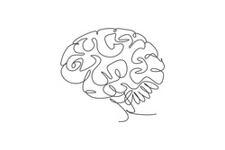 One single line drawing of smart human brain from side view logo identity. Genius idea for brain medical health icon logotype concept. Dynamic continuous line draw design vector graphic illustration