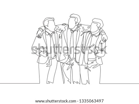 One single line drawing of three young male employee standing together and hugging each other. Friendship concept continuous line draw design illustration