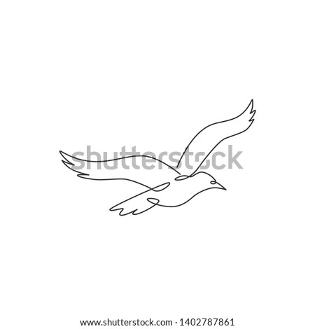 One single line drawing of wild seagull for company business logo identity. Cute bird mascot concept for conservation national park symbol. Continuous line draw design graphic illustration vector
