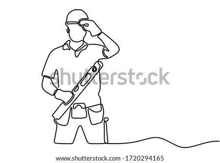 One single line drawing of young handyman wearing helmet while holding spirit level. Craftsman home repair service concept. Repairman construction maintenance service concept. ストックフォト ©