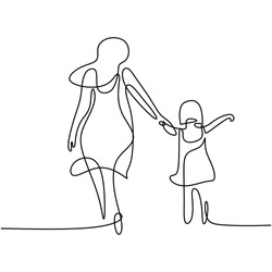 One single line drawing of young happy mom holding her daughter. A mother playing together with her child at home isolated on white background. Family parenthood concept. Vector illustration