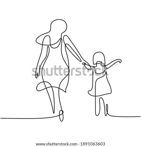 One single line drawing of young happy mom holding her daughter. A mother playing together with her child at home isolated on white background. Family parenthood concept. Vector illustration Stock foto ©