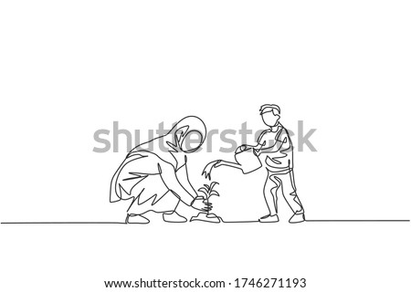 One single line drawing of young Islamic mother and her son planting a plant at house backyard vector illustration. Happy Arabian muslim family parenting concept. Modern continuous line draw design Сток-фото ©