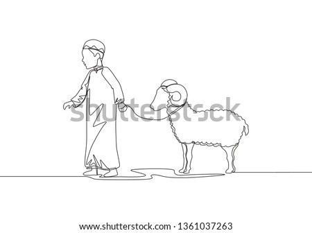 One single line drawing of young muslim boy holding sheep to masjid. Muslim holiday the sacrifice a goat or sheep, Eid al Adha greeting card concept continuous line draw design illustration