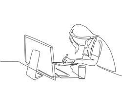 One single line drawing of young pensive female employee works overtime to finish writing company draft business proposal. Business agreement concept continuous line draw design vector illustration