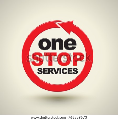 one stop services icon with red