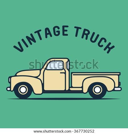 One thin line, flat vintage retro truck logo, vector illustration