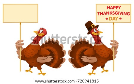 One turkey holds blank banner and another turkey holds Happy Thanksgiving Day banner. Cartoon styled vector illustration. Elements is grouped. No transparent objects. Isolated on white.