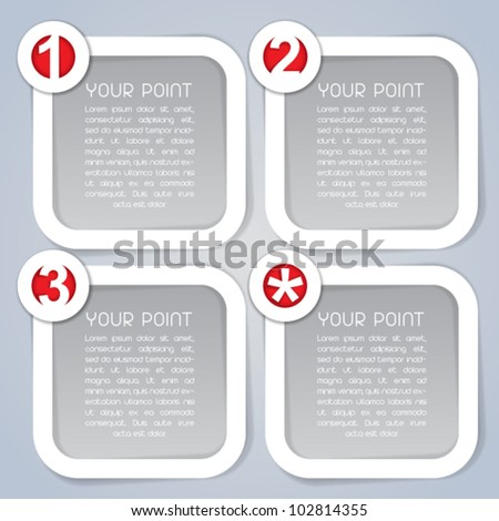 One, Two, Three and Star, square progress labels in white - stock vector
