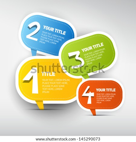 One two three four colorful vector paper progress steps for tutorial infographics