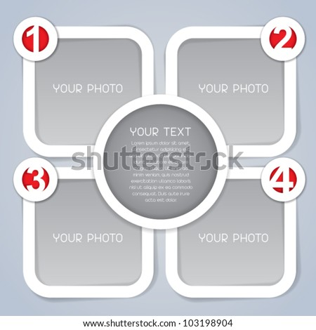 One, Two, Three, Four, square progress labels in white - stock vector