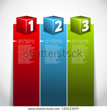 One Two Three progress cube - Vector background