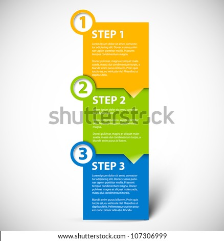 One two three - vector paper progress steps for tutorial